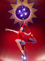 Kierstin Hedin performs on the Aerial Sling in the Granite State Circus at Weirs Beach.  (Karen Bobotas/for the Laconia Daily Sun)