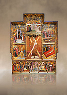 Gothic altarpiece dedicated to St Vincent by Bernat Martorell circa 1483-1440 in Barcelona, tempera and gold lef on wood from the Parish church of St Vincent of menarguens, Noguera, Spain. At the top of the central panels of the altar tryptic, replacing the traditional Calvery scene, can be seen in the centre the Virgin of Mercy and kneeling to the left is Sant Benet de Bages, in black, and to the right St. Bernard of Clairvaux, patron saint of thr Benedictine and Cistercian orders . Below this is a depiction of St Vincent and either side are scenes of the Mardom of Vincent. Along the bottom are scenes from the Passion of Christ, with Judas in a yellow tunic kissing Christ and a furious Peter cutting off the ear of Malcus. National Museum of Catalan Art (MNAC), Barcelona, Spain, inv 15797. Against a art background. . .<br /> <br /> If you prefer you can also buy from our ALAMY PHOTO LIBRARY  Collection visit : https://www.alamy.com/portfolio/paul-williams-funkystock/gothic-art-antiquities.html  Type -     MANAC    - into the LOWER SEARCH WITHIN GALLERY box. Refine search by adding background colour, place, museum etc<br /> <br /> Visit our MEDIEVAL GOTHIC ART PHOTO COLLECTIONS for more   photos  to download or buy as prints https://funkystock.photoshelter.com/gallery-collection/Medieval-Gothic-Art-Antiquities-Historic-Sites-Pictures-Images-of/C0000gZ8POl_DCqE