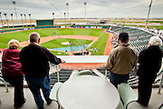 27 FEBUARY 2010 -- GOODYEAR, AZ:   People look out at the field from the luxury suites at the new ballpark in Goodyear Saturday.  PHOTO BY JACK KURTZ