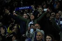 Chelsea fans celebrate at the final whistle<br /> <br /> Photographer Jack Phillips/CameraSport<br /> <br /> Football - Barclays Premiership - Leicester City v Chelsea - Wednesday 29th April 2015 - King Power Stadium - Leicester<br /> <br /> © CameraSport - 43 Linden Ave. Countesthorpe. Leicester. England. LE8 5PG - Tel: +44 (0) 116 277 4147 - admin@camerasport.com - www.camerasport.com
