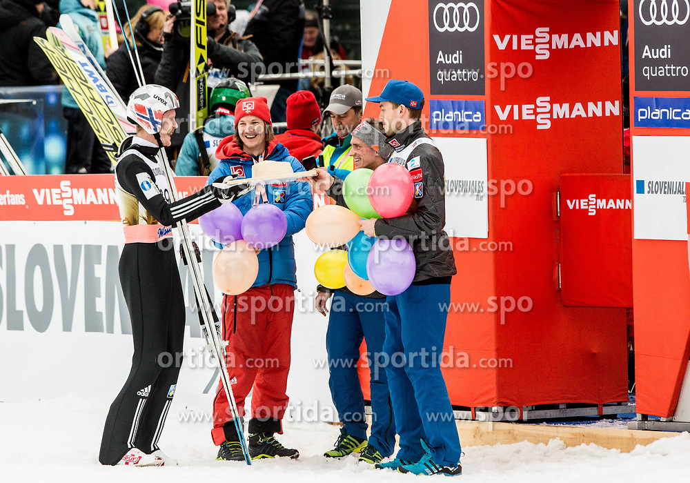 Robert Johansson of Norway celebrate his birthday with a cake after the 2nd Round of the Ski Flying Hill Individual Competition at Day 2 of FIS Ski Jumping World Cup Final 2018, on March 23, 2018 in Planica, Slovenia. Photo by Vid Ponikvar / Sportida