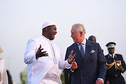 President of the Gambia greets The Prince of Wales at Banjul international airport in The Gambia, at the start of their trip to west Africa.