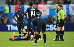 France's Olivier Giroud reacts to an injury