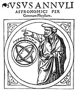 Gemma Phrysius or Frisius (1508-1555), Dutch mathematician,  holding an adjustable ring dial for determining the altitude of the sun for calendar calculations. From Peter Apian 'Cosmographia', Antwerp, 1539. Engraving