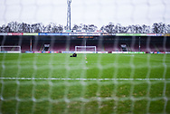 """A view of the Glanford Park pitch from behind one of the goals as """"Support Your Team"""" flashes up on the score board before the EFL Sky Bet League 1 match between Scunthorpe United and Coventry City at Glanford Park, Scunthorpe, England on 5 January 2019."""