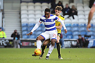 Queens Park Rangers midfielder Kazenga LuaLua (28) jolding up the ball from Burton Albion defender Tom Flanagan (2) during the EFL Sky Bet Championship match between Queens Park Rangers and Burton Albion at the Loftus Road Stadium, London, England on 28 January 2017. Photo by Matthew Redman.