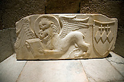 Lion of Saint Mark, coat of arms Crispi family, Archaeological museum, Rhodes, Greece