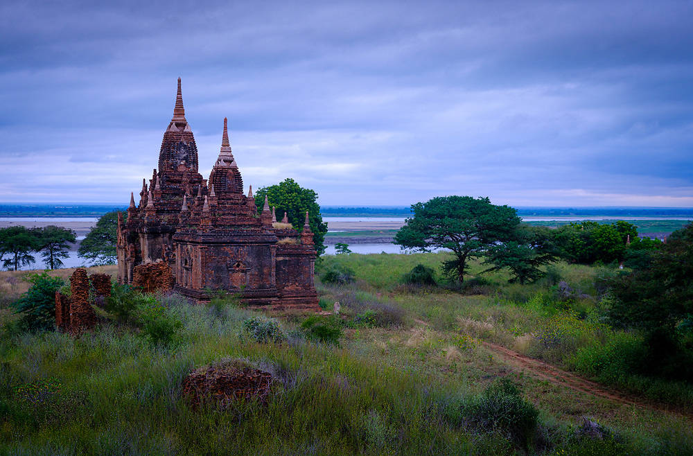 BAGAN, MYANMAR - CIRCA DECEMBER 2017: Temple over the plains of Bagan in Myanmar (Burma)