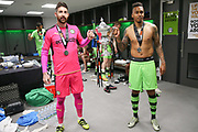 Forest Green Rovers goalkeeper Sam Russell(23) and Forest Green Rovers Keanu Marsh-Brown(7) during the Vanarama National League Play Off Final match between Tranmere Rovers and Forest Green Rovers at Wembley Stadium, London, England on 14 May 2017. Photo by Shane Healey.