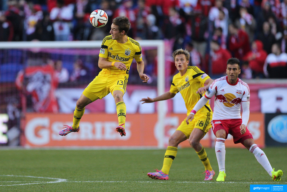 Ethan Finlay, Columbus Crew, in action during the New York Red Bulls Vs Columbus Crew, Major League Soccer regular season match at Red Bull Arena, Harrison, New Jersey. USA. 19th October 2014. Photo Tim Clayton