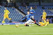 Jordan Jones (Rangers) is brought down outside the box during the Scottish Premiership match between Rangers and Livingston at Ibrox, Glasgow, Scotland on 25 October 2020.