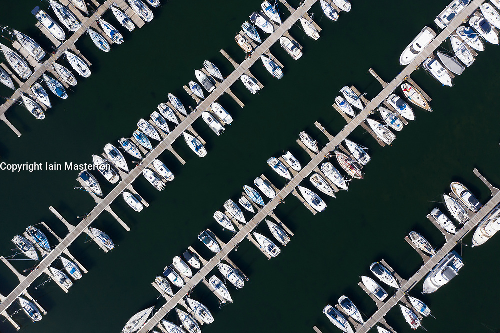 Largs, Scotland, UK. 4 May 2020. Aerial view of Largs Yacht Haven which is very busy with almost all berths being filled with yachts. Normally many yachts would be out sailing at this time of year but are now forced to remain at the harbour during the coronavirus lockdown. Iain Masterton/Alamy Live News