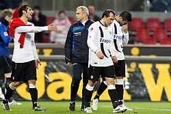 11.12.2010,  Rhein Energie Stadion, Koeln, GER, 1.FBL, FC Koeln vs Eintracht Frankfurt, 16. Spieltag, im Bild: Halil Altintop (Frankfurt #10) (li.) beschwert sich. Vorne sind Theofanis Gekas (Frankfurt #21) (li.) und Caio (Frankfurt #30) (re.) entaeuscht / entäuscht  EXPA Pictures © 2010, PhotoCredit: EXPA/ nph/  Mueller       ****** out ouf GER ******