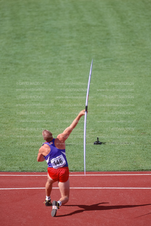 VICTORIA, BC - AUGUST 24:  Greg Turner #146 of Canada throws the javelin during the Men's Decathlon competition of the XV Commonwealth Games on August 24, 1994 in Centennial Stadium in Victoria, British Columbia, Canada.  (Photo by David Madison/Getty Images)