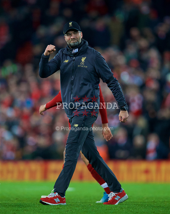 LIVERPOOL, ENGLAND - Saturday, December 29, 2018: Liverpool's manager Jürgen Klopp celebrates after the 5-1 victory during the FA Premier League match between Liverpool FC and Arsenal FC at Anfield. (Pic by David Rawcliffe/Propaganda)
