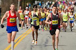 2013 Boston Marathon: Fernando Cabada in front of pack of elite runners mile 1
