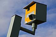 Vandalised Gatso speed camera on A40, Oxfordshire, England, United Kingdom