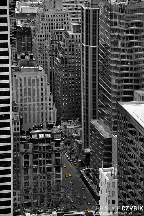 Color and Black and White Mix: View from the Rockefeller Center Observation Deck Top of the Rock over Manhattan, New York
