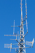 mobile radio and yagi antennas on cellsite tower on Mt Coot-tha, Brisbane <br /> <br /> Editions:- Open Edition Print / Stock Image
