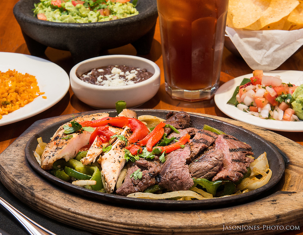 Food Photography reference of Combination Fajitas, styled with Mexican side dishes