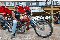 Les Covington on his Panhead at the Wrench Magazine old school bike show at the Easyriders Saloon during the annual Sturgis Black Hills Motorcycle Rally. SD, USA. August 6, 2014.  Photography ©2014 Michael Lichter.