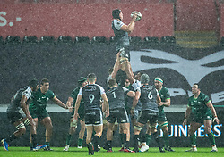 Lloyd Ashley of Ospreys claims the lineout<br /> <br /> Photographer Simon King/Replay Images<br /> <br /> Guinness PRO14 Round 6 - Ospreys v Connacht - Saturday 2nd November 2019 - Liberty Stadium - Swansea<br /> <br /> World Copyright © Replay Images . All rights reserved. info@replayimages.co.uk - http://replayimages.co.uk