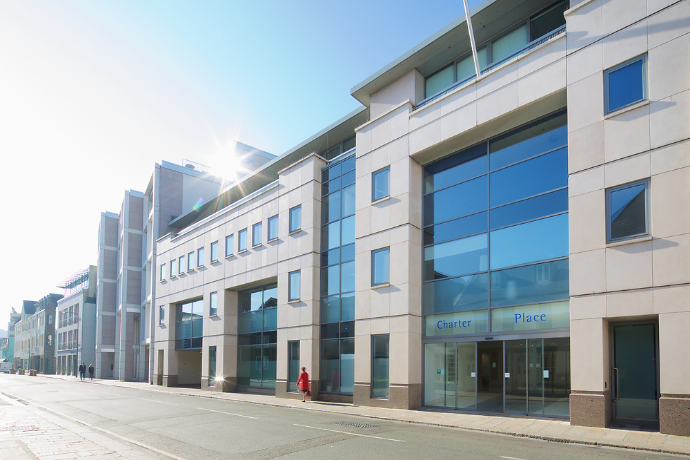 Corporate offices and buildings along the Esplanade in St Helier town, Jersey, CI