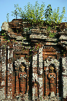 My Son is one of the better preserved of the Champa kingdom sites. Bricks were used to build the temples without the aid of mortar.  Sculptures of gods, priests, animals, and scenes of battle and devotion adorn the walls.