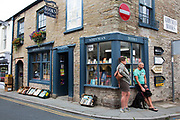 """Exterior of Addyman Books booksellers in Hay-on-Wye or Y Gelli Gandryll in Welsh, known as """"the town of books"""", is a small town in Powys, Wales famous for it's many second hand and specialist bookshops, although the number has declined sharply in recent years, many becoming general antique shops and similar."""
