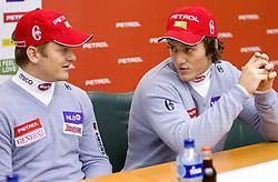 Andrej Krizaj and Rok Perko at press conference of Men Alpine Ski team and sponsor Petrol, on December 8, 2010 in Petrol, Ljubljana, Slovenia. (Photo By Vid Ponikvar / Sportida.com)