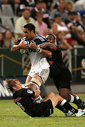 Jerome Kaino of The Blues during the Super15 match between The Mr Price Sharks and The Blues held at Mr Price Kings Park Stadium in Durban on the 26th February 2011..Photo By:  Ron Gaunt/SPORTZPICS
