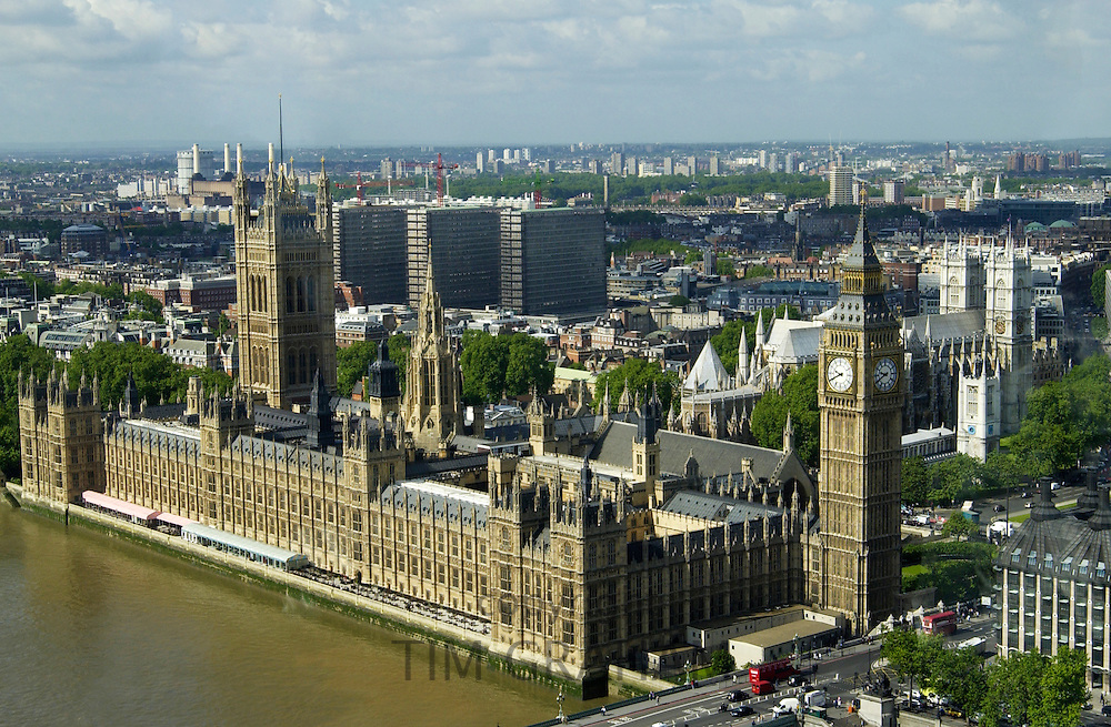 Aerial view of landmarks Big Ben, the Houses of Parliament, River Thames, Westminster Bridge, London, UK