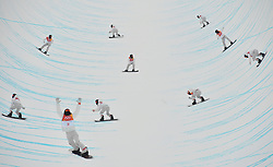 February 14, 2018 - Pyeongchang, South Korea - The multi-exposure photo shows SHAUN WHITE of the U.S. compete during the men's halfpipe of snowboard at 2018 PyeongChang Winter Olympic Games at Phoenix Snow Park. Shaun White won the gold medal with 97.75 points. (Credit Image: © Lui Siu Wai/Xinhua via ZUMA Wire)