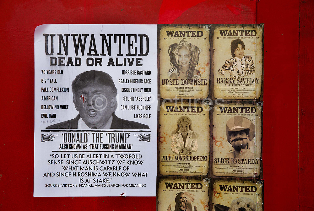 Anti Trump posters flyposted in the Shangri La field, Glastonbury Festival 2016. The Glastonbury Festival is the largest greenfield festival in the world, and is now attended by around 175,000 people. Its a five-day music festival that takes place near Pilton, Somerset, United Kingdom. In addition to contemporary music, the festival hosts dance, comedy, theatre, circus, cabaret, and other arts. Held at Worthy Farm in Pilton, leading pop and rock artists have headlined, alongside thousands of others appearing on smaller stages and performance areas.