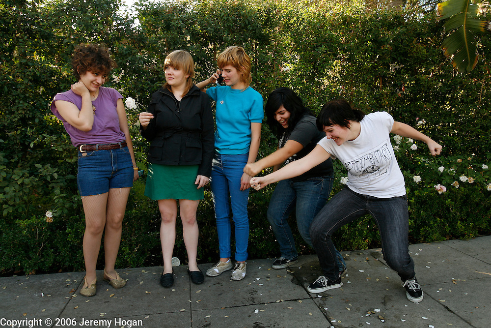 Members of the all girl punk band Mika Miko pose during a photo shoot in Los Angeles.