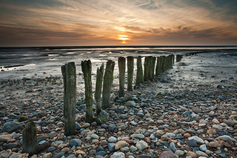 Sunset over The Wash at Snettisham, Norfolk, Uk