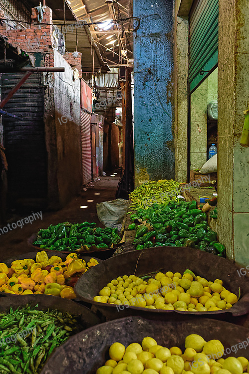 Fruit and vegetables on sale in rundown Souq Bab El Louk in downtown Cairo