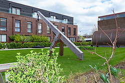 Social housing residents are up in arms after having their children forbidden from using a play area and swing, pictured, overlooked by their homes as it is said to be only available to the children of those who have bought properties at the new Baylis Old School housing development in Lambeth, South London . London, March 26 2019.
