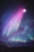 Alaska. Anchorage. Aurora borealis or northern lights above Chugach Mountains at Arctic Valley.