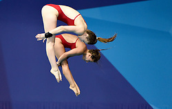 Germany's Maria Kurjo and Elena Wassen during the Women's Synchronised 10m Platform Final during day six of the 2018 European Championships at Scotstoun Sports Campus, Glasgow. PRESS ASSOCIATION Photo. Picture date: Tuesday August 7, 2018. See PA story DIVING European. Photo credit should read: Ian Rutherford/PA Wire. RESTRICTIONS: Editorial use only, no commercial use without prior permission