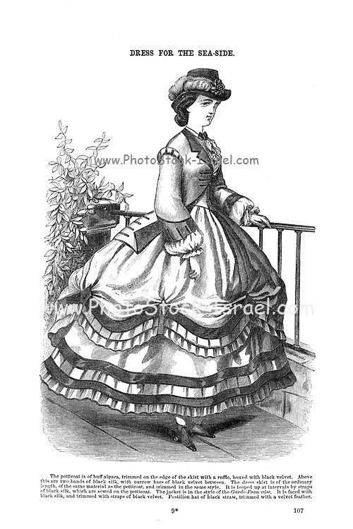 Dress for the Seaside Godey's Lady's Book and Magazine, August, 1864, Volume LXIX, (Volume 69), Philadelphia, Louis A. Godey, Sarah Josepha Hale,