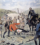Paul Sandford Methuen, 3rd Baron Methuen (1845-1932) British Lieutenant-General, wounded in unsuccessful attack on Boers and captured at Tweesbosch, surrendering his sword to General  J.H. (Koos) De La Rey, 7 March 1902. From Le Petit Journal, Paris, 30 March 10902