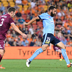 BRISBANE, AUSTRALIA - NOVEMBER 19: Alex Brosque of Sydney controls the ball during the round 7 Hyundai A-League match between the Brisbane Roar and Sydney FC at Suncorp Stadium on November 19, 2016 in Brisbane, Australia. (Photo by Patrick Kearney/Brisbane Roar)