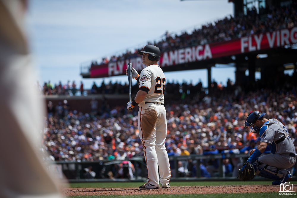 San Francisco Giants third baseman Christian Arroyo (22) waits for a pitch against the Los Angeles Dodgers at AT&T Park in San Francisco, California, on April 27, 2017. (Stan Olszewski/Special to S.F. Examiner)