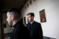 ROME, ITALY - 6 MARCH 2013: (L-R) Seminarians Jonathan Ficara, 26 years old from Moodus, CT, and John Wilson, 27 years old from Manhattan, NY, are here in one of the wings of the Pontifical North American College in Rome, Italy, on March 6, 2013. Jonathan Ficara is attending his 3rd year of studies at the Pontifical North American College, while John Wilson is attending the 1st year of theology...The Pontifical North American College is a Roman Catholic educational institution that forms seminarians for priestly ministry in the dioceses in the United States and that provides a residence for American priests pursuing graduate studies...Gianni Cipriano for The New York Times10139468AROME, ITALY - MARCH 10: U.S. Cardinal Timothy Dolan of New York City arrives at the Our Lady of Guadalupe church in the Monte Mario district where he is the titular head to give a Sunday Mass, in Rome, Italy, on March 10, 2013. Cardinals are set to enter the conclave to elect a successor to Pope Benedict XVI after he became the first pope in 600 years to resign from the role. The conclave is scheduled to start on March 12 inside the Sistine Chapel and will be attended by 115 cardinals as they vote to select the 266th Pope of the Catholic Church...Gianni Cipriano for The New York Times