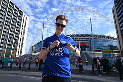 © Licensed to London News Pictures. 18/04/2021. London, UK. Football fan arrives as up to 4,000 football fans arrive at Wembley Stadium to attend the FA Cup Semi-Finals between Leicester City and Southampton. All attendees would have had a negative Covid-19 test to attend the event as part of the Events Research Programme (ERP) pilot scheme informing the government's decision on step 4 of its roadmap out of lockdown. Photo credit: Ray Tang/LNP