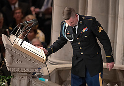 James McCain finishes his reading at the funeral service for the late United States Senator John S. McCain, III (Republican of Arizona) at the Washington National Cathedral in Washington, DC, USA on Saturday, September 1, 2018. Photo by Ron Sachs/CNP/ABACAPRESS.COM