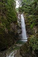 Cascade Falls from the main viewing platform in Cascade Falls Regional Park near Durieu, British Columbia, Canada