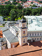 High-angle view of the Vilnius University with the Lietuvos Respublikos prezidentūra in the background, from the bell tower, in Senamiestyje/Old Town, Vilnius, Lithuania