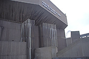 AYBRD6 Concrete walls Queen Elizabeth Hall Purcell Room exterior London England London Eye in background